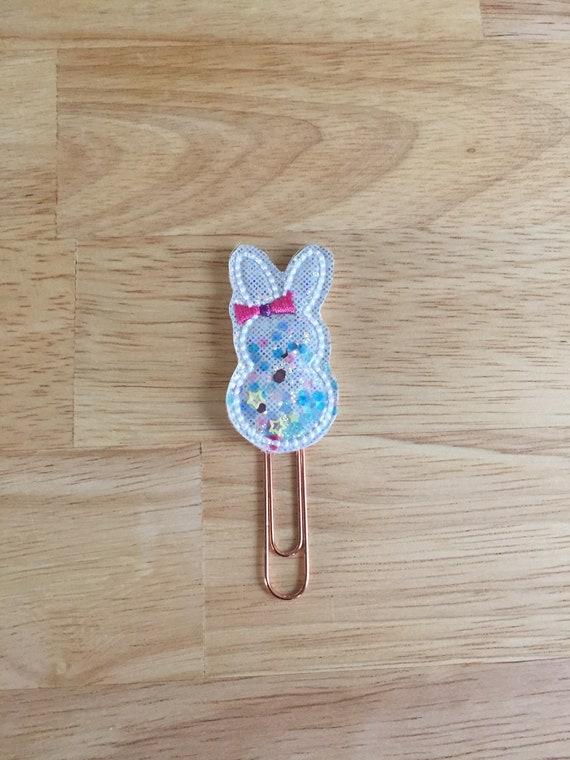 Shaker Glitter Easter Bunny planner Clip/Planner Clip/Bookmark. Easter Planner Clip. Bunny Planner Clip