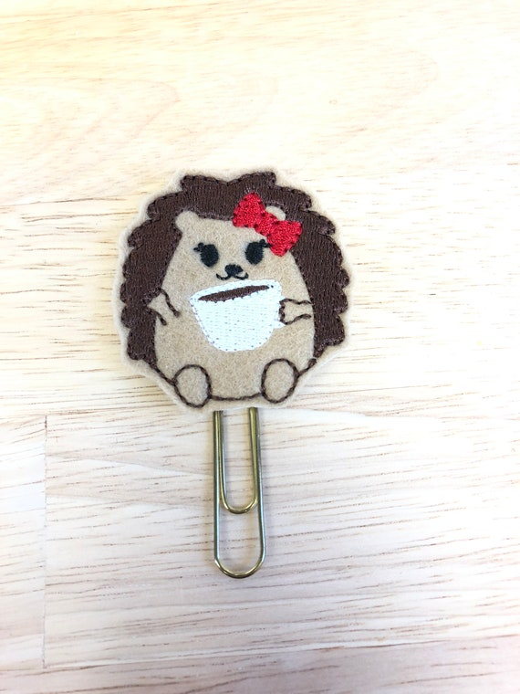 Hedgehog With Coffee Clip/Planner Clip/Bookmark. Animal Planner Clip. Coffee Planner Clip. Hedgehog Planner Clip