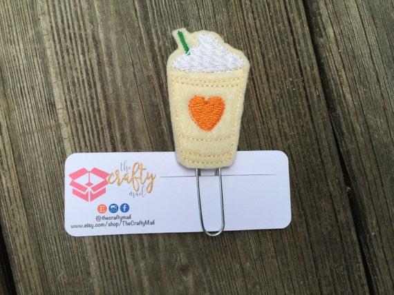 Pumpkin Spice Frappucino Orange Heart Planner Clip/Paper Clip/Feltie Clip. Coffee Planner Clip. Frappucino Planner Clip. PSL Planner Clip