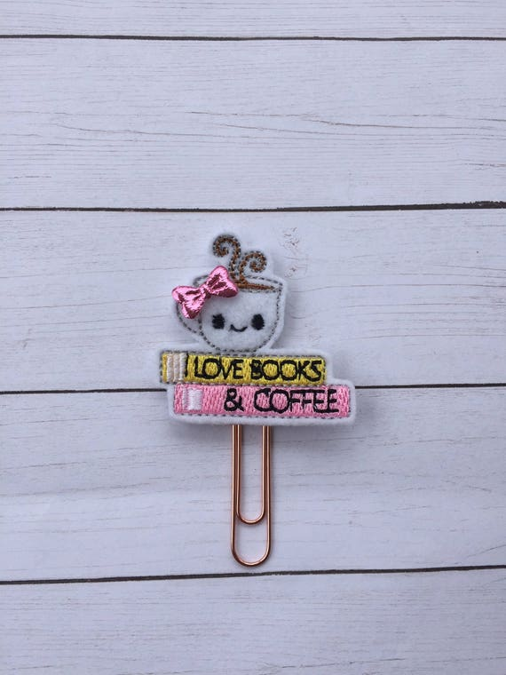 Book & Coffee Lover planner Clip/Planner Clip/Bookmark. Book Planner Clip. Coffee Planner Clip. Book Love Bookmark