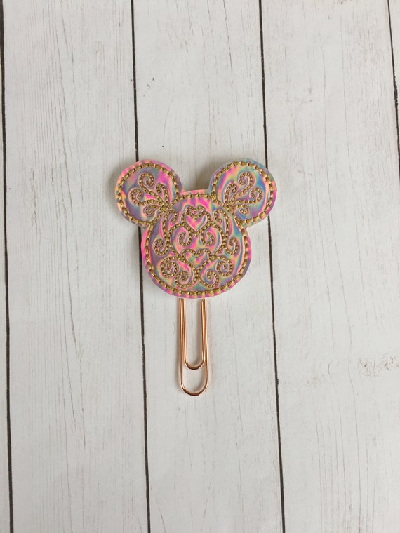Pink Holographic Swirly Mouse Clip/Planner Clip/Bookmark. Mouse Planner Clip. Holo Planner Clip. WDW planner clip