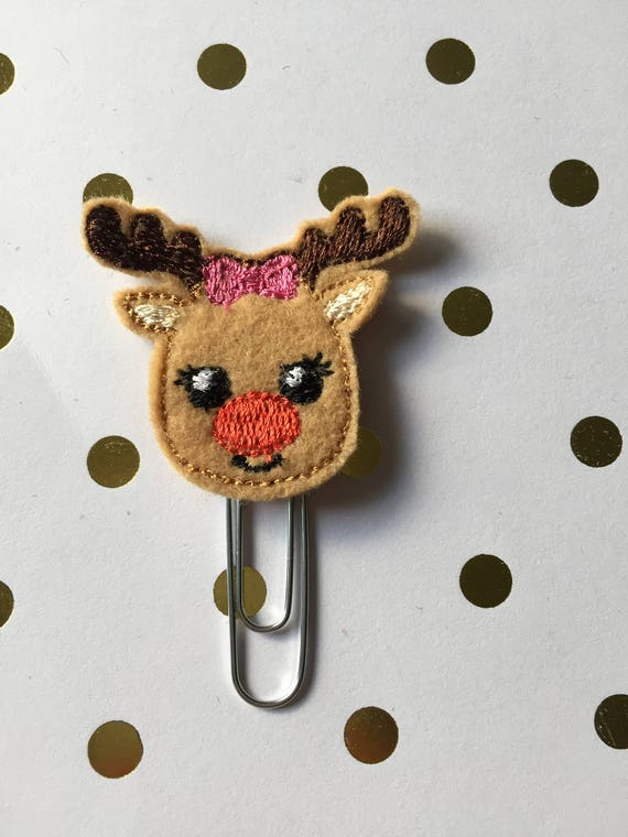 Reindeer With Bow planner Clip/Planner Clip/Bookmark. Holiday planner clip. Christmas planner clip. Reindeer Planner Clip.