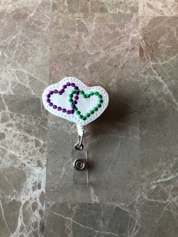 Mardi Gras Bead Hearts Badge Reel/ Badge Reel/Nurse Badge Reel. Mardi Gras badge reel. Bayman Heart Badge Reel.