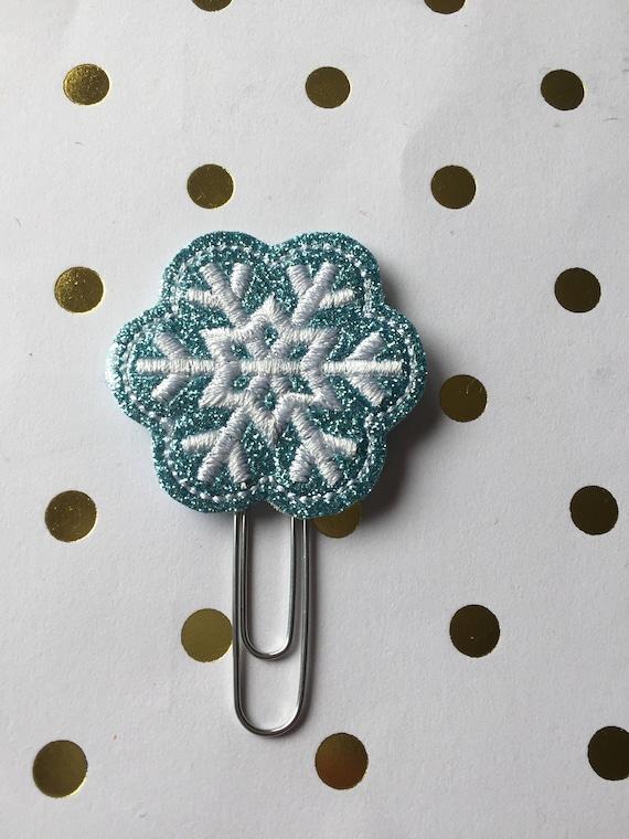 Ice Blue Glitter Snowflake planner Clip/Planner Clip/Bookmark. Winter Planner Clip. Snow Planner Clip. Snowflake Planner Clip