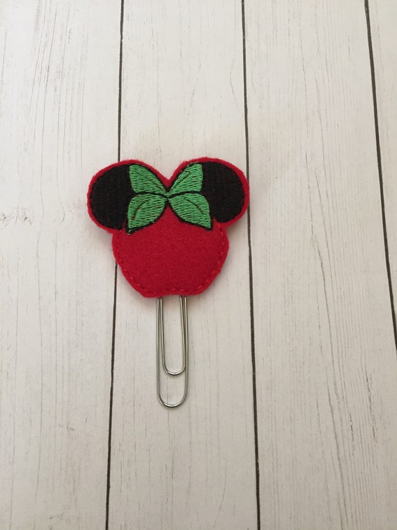 Girl Mouse Apple Clip/Planner Clip/Bookmark. Apple Planner Clip. Mouse Planner Clip. Teacher Planner Clip. School Planner Clip