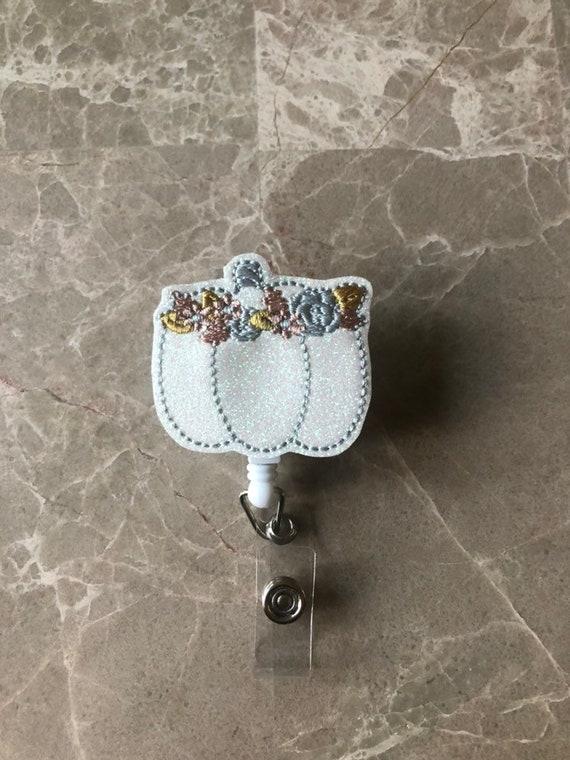 Glitter floral Pumpkin Badge Reel/Fall Badge Reel/Halloween Badge Reel/Nurse Badge Reel/Pumpkin Badge Reel