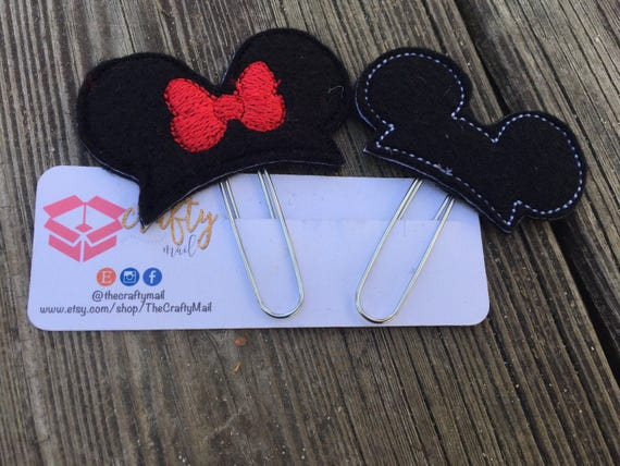 Mouse Inspired  Mouse Ears Clip/Planner Clip/Bookmark. Your choice of Mickey or Minnie