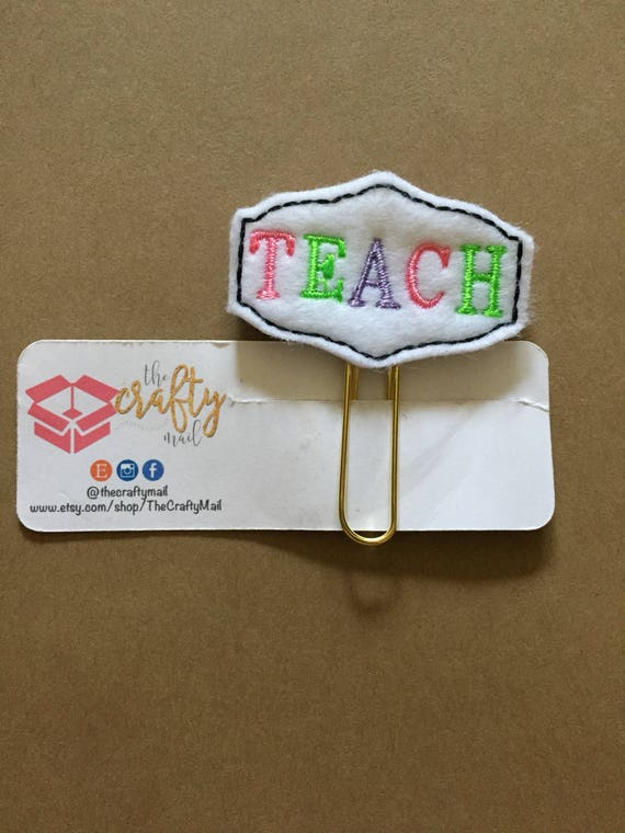 Teach planner Clip/Planner Clip/Bookmark. Teacher planner clip. Teacher gift. School Planner Clip