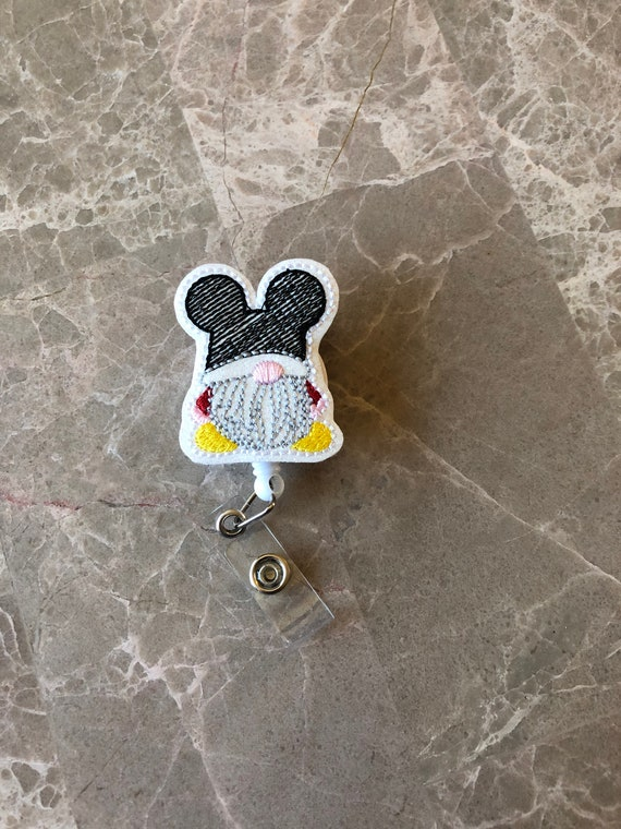 Mouse Gnome Badge Reel/ Badge Reel/Nurse Badge Reel. Mickey badge reel. Mouse Ears