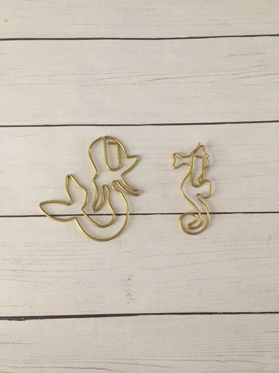Gold Mermaid Paperclip/Gold Seahorse Paperclip/Combo Paperclip, planner clip, bookmark. Choose 1 or set of 2. Metal Planner Clip