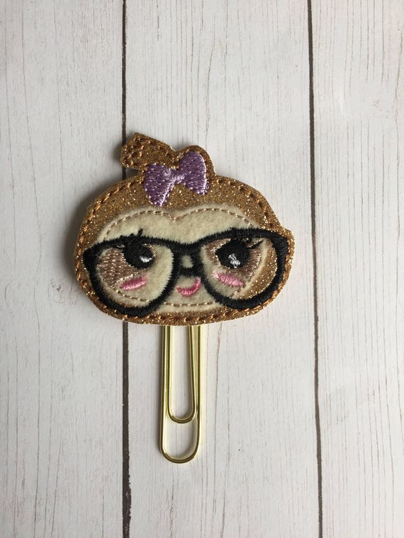 Geeky Girl Sloth Clip/Planner Clip/Bookmark. Sloth Planner Clip. Sloth Paper Clip. Geek Planner Clip. Girl Sloth Planner Clip.