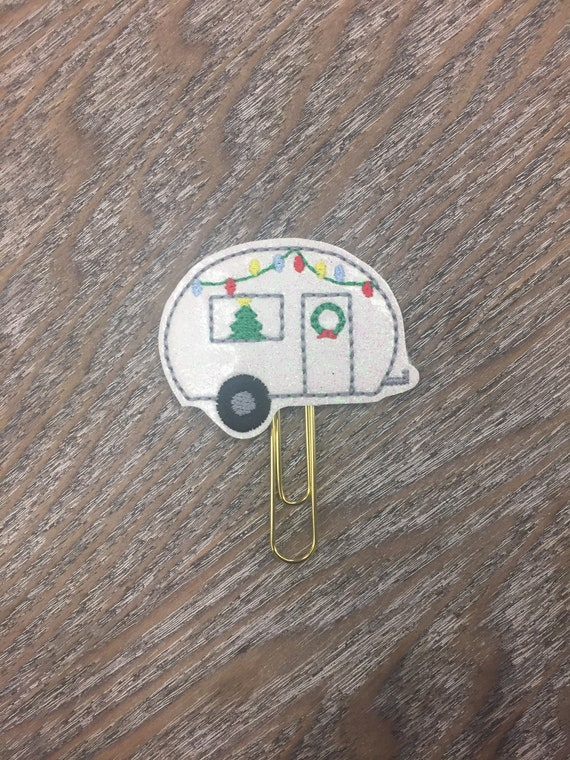 Glitter Christmas Camper Clip/Planner Clip/Bookmark. Christmas Planner Clip. Camper Planner Clip. Holiday Planner Clip