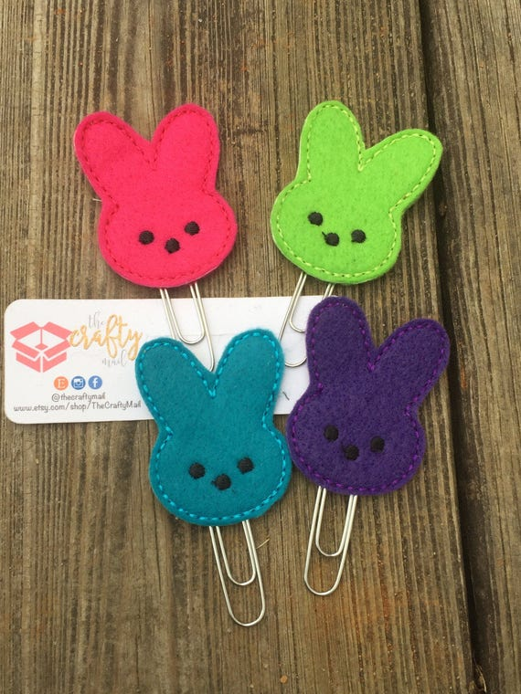 Bunny Peeps Planner Clip/Planner Clip/Bookmark. Choose from 4 colors. Easter planner clip