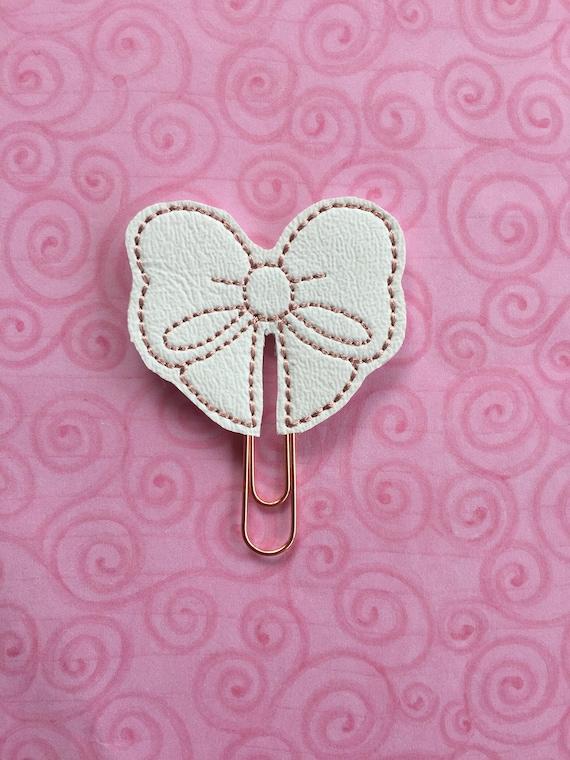 White Vinyl Bow planner Clip/Planner Clip/Bookmark. Bow Planner Clip. White Bow Planner Clip.