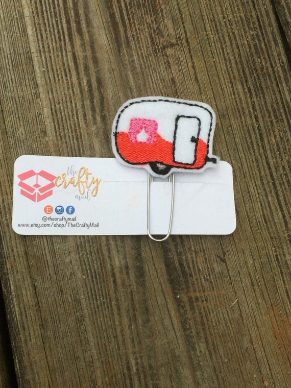 Valentine Camper Clip/Planner Clip/Bookmark. Valentine's planner clips. Glamping Planner Clip