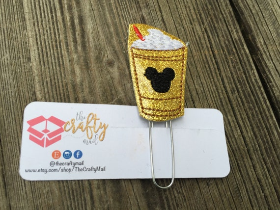 Gold glitter frappucino Mouse Coffee Planner Clip/Paper Clip/Feltie Clip. Mouse ears planner clip. Coffee planner clip