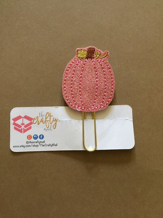 Pink Glitter Pumpkin planner Clip/Planner Clip/Bookmark. Pumpkin planner clip. Fall Planner Clip