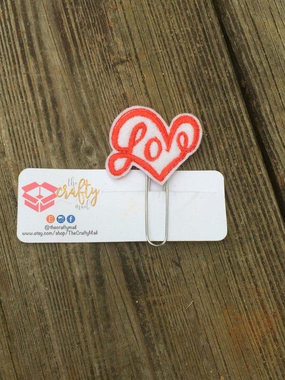 Love Heart Clip/Planner Clip/Bookmark. Valentine's planner clips