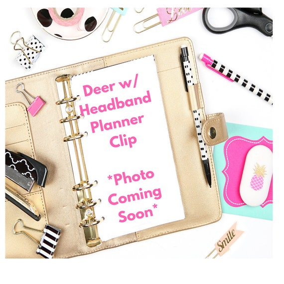 Vinyl Deer With Floral Headband Planner Clip/Planner Clip/Bookmark. Deer Planner Clip. Animal Planner Clip. Floral Planner Clip