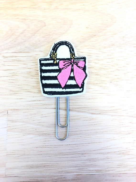 Glitter Vinyl Purse With Pink Bow Planner Clip/Planner Clip/Bookmark. Fashion Planner Clip. Bag Planner Clip. Purse Planner Clip