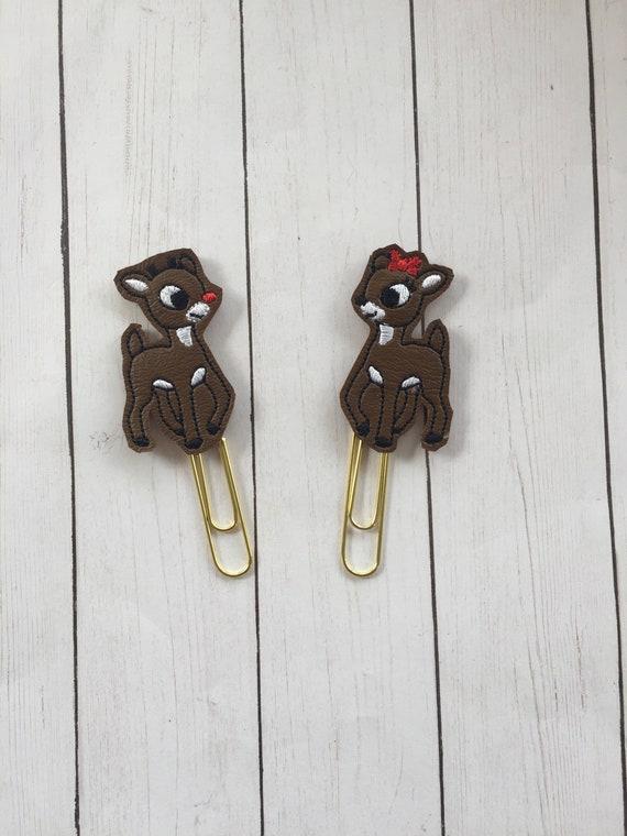 Vinyl Rudolph & Clarice Clip/Planner Clip/Bookmark. Winter Planner Clip. Christmas Planner Clip. Reindeer Planner Clip. Red Nose Clip