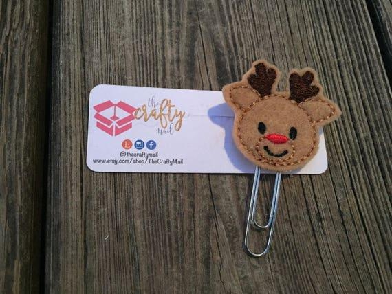 Boy Reindeer Planner Clip/Paper Clip/Feltie Clip. Christmas planner clips. Reindeer planner clip. Holiday planner clip