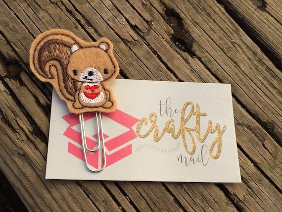 Valentine squirrel Clip/Planner Clip/Bookmark. Valentine's planner clips