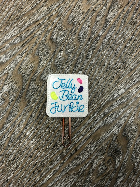 Glitter Vinyl Jelly Bean Junkie Planner Clip. Easter Planner Clip. Jelly Bean Planner Clip. Candy Planner Clip. Spring Planner Clip.