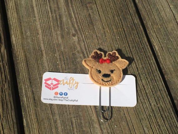 Girl Reindeer Planner Clip/Paper Clip/Feltie. Christmas Planner Clip. Reindeer planner clip. Holiday planner clip