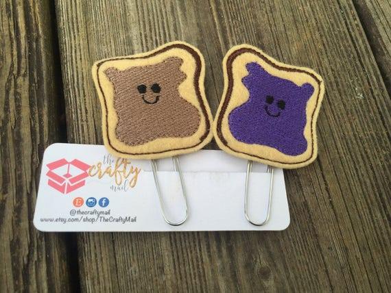 Peanut butter & Jelly Clip/Planner Clip/Bookmark. BFF planner clip. Best friends planner clip