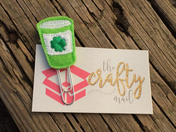 St. Patrick Clover Coffee Clip/Planner Clip/Bookmark. St. Patrick's planner clips. St. Patty's