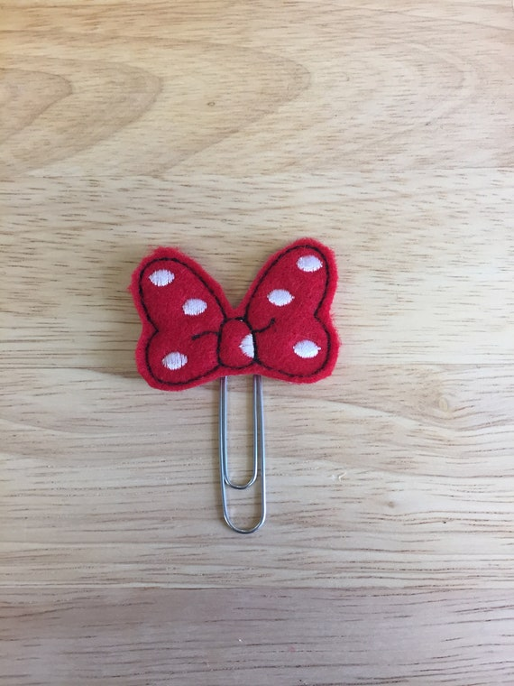 Felt Polka Dot Mouse Bow Clip/Planner Clip/Bookmark. Mouse Bow Planner Clip. Mouse Planner Clip. Minnie Bow