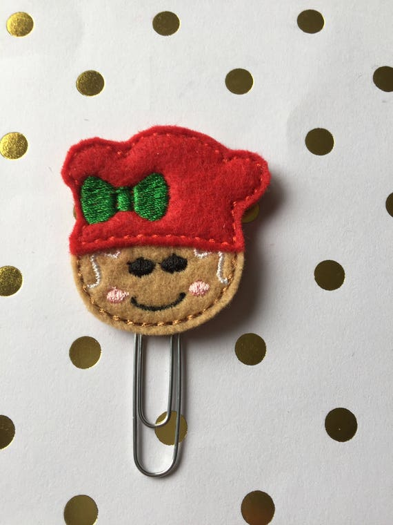 Gingerbread Girl Chef planner Clip/Planner Clip/Bookmark. Holiday Planner Clip. Gingerbread planner clip. Christmas planner clip