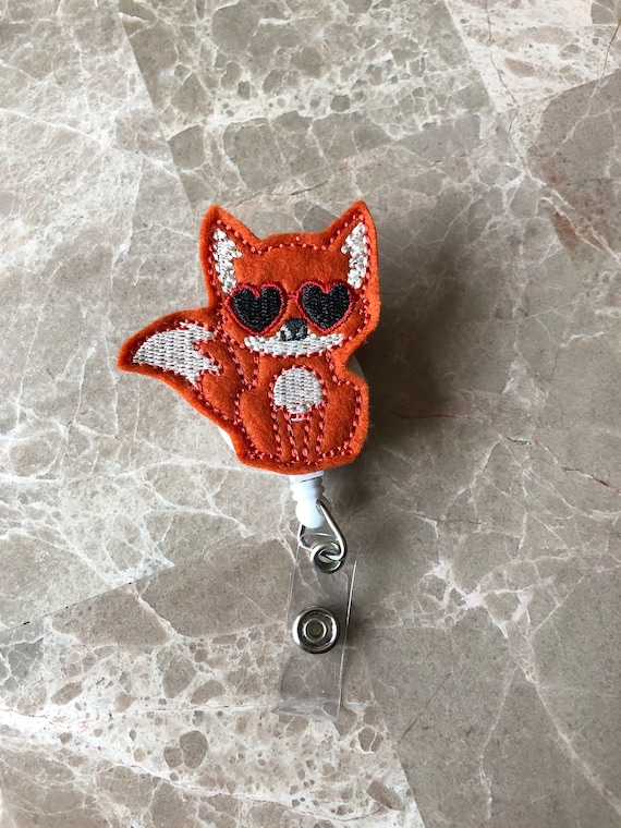 Valentine Fox Badge Reel/ Badge Reel/Nurse Badge Reel. Valentine badge reel