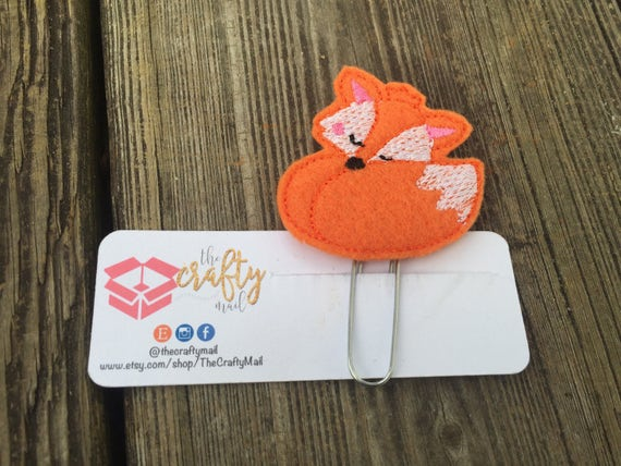 Sleeping Fox Clip/Planner Clip/Bookmark.