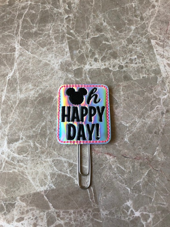 Holo Oh Happy Day Mouse Glitter Bow Planner Clip/Planner Clip/Bookmark. Planner Clip. Mouse Planner Clip.