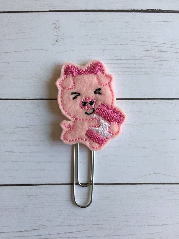 Pig with coffee planner Clip/Planner Clip/Bookmark. Pig planner clip. Coffee planner clip. Animal planner clip.