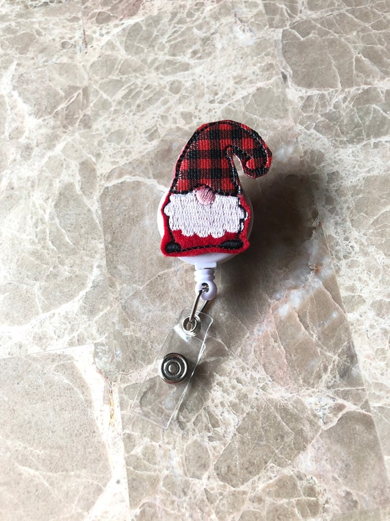 Buffalo Plaid Gnome Badge Reel/Christmas Badge Reel/Nurse Badge Reel/Teacher Badge Reel