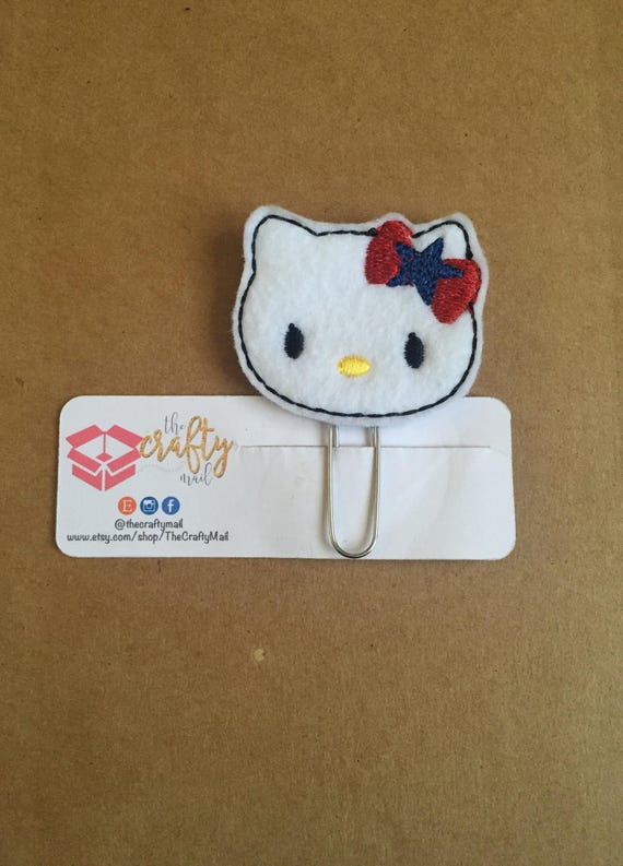 Independence Day Kitty/Cat Planner Clip/Paper Clip/Feltie Clip. 4th of July planner clip. Patriotic kitty planner clip