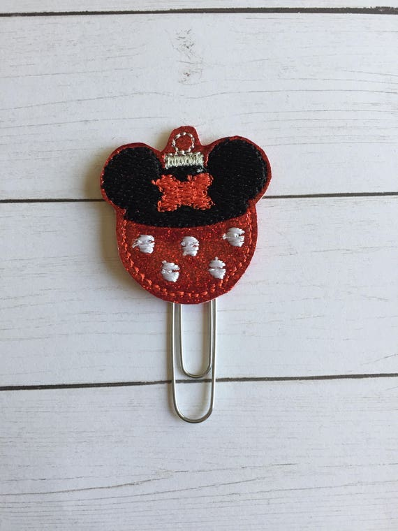 Girl Mouse Ornament planner Clip/Planner Clip/Bookmark. Christmas planner clip. Holiday planner clip. mouse planner clip. Ornament clip