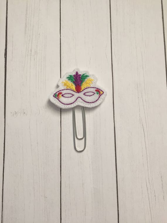 Mardi Gras Mask Clip/Planner Clip/Bookmark. Mask Planner Clip. Mardi Gras Planner Clip