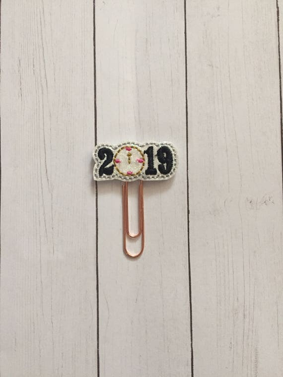 2019 Planner Clip/Planner Clip/Bookmark. New Year Planner Clip. Clock Planner Clip. Glitter Planner Clip