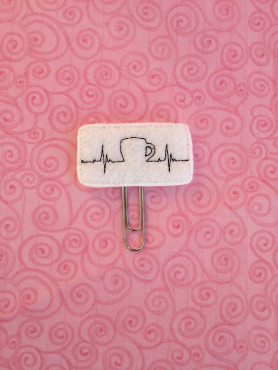 EKG Coffee Clip/Planner Clip/Bookmark. Coffee Planner Clip. EKG Planner Clip. Heartbeat Planner Clip. Caffeine Planner Clip