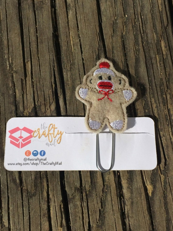 Sock Monkey Clip/Planner Clip/Bookmark. Monkey planner clip