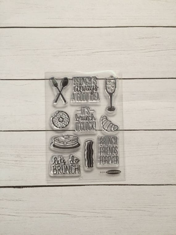 10 Piece Brunch Clear Stamps. Clear Stamps for Planning/Scrapbooking. Brunch Planner Clips. Donut Stamp. Brunch Stamp