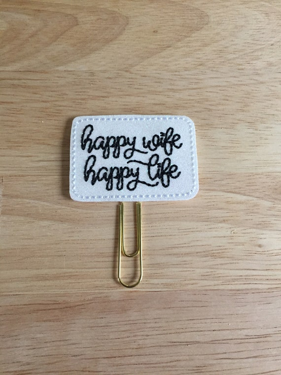 Happy Wife, Happy Life Planner Clip/Planner Clip/Bookmark. Wife Planner Clip. Wifey Planner Clip. Mrs. Planner Clip