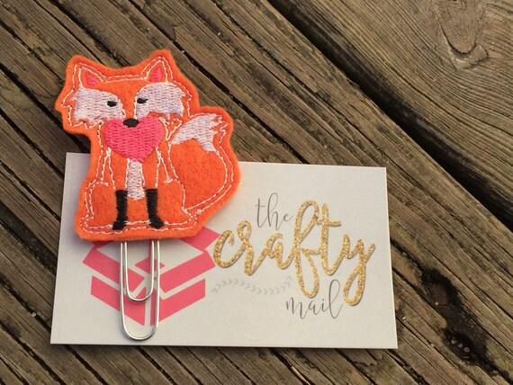Valentine fox Clip/Planner Clip/Bookmark. Valentine's planner clips