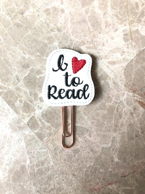 Glitter I Love To Read Planner Clip/Paper Clip/Feltie Clip/Bookmark. Book Planner Clip. Love To Read.