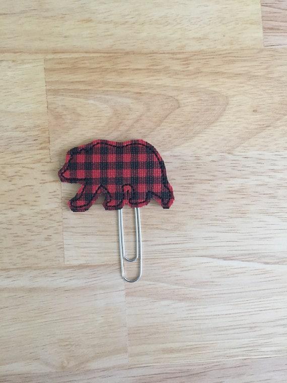 Buffalo Plaid Vinyl Bear Clip/Planner Clip/Bookmark. Bear Planner Clip. Animal Planner Clip. Plaid Planner Clip