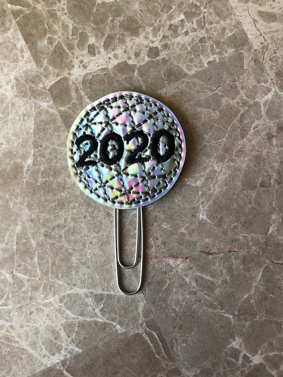 Holographic 2020 New Year Clip/Planner Clip/Bookmark. New Year Planner Clip. 2020 planner clip. Holiday planner clip.